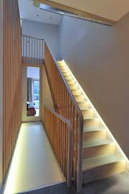 Landing Banister Cool Lighting Effects Staircase Transitional With Landing