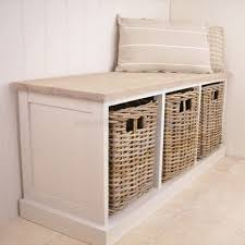 White Wicker Bathroom Drawers Furniture Endearing White Wicker Storage Bench Padded Cushioned