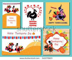 set thanksgiving day greeting card turkeys stock vector 342270623