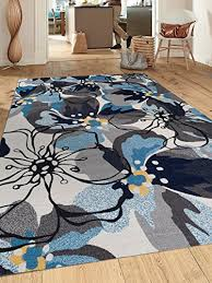 Gray Blue Area Rug Modern Large Floral Non Slip Non Skid Area Rug 8 X 10 7 10 X