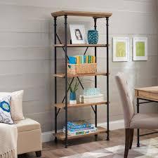 leaning ladder 5 shelf bookcase espresso amiphi info