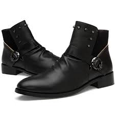 mens harley riding boots tide boys fashion leather ankle boots mens motorcycle punk rocky