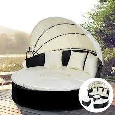 Wicker Rattan Patio Furniture - 2 in 1 outdoor patio rattan round retractable canopy daybed