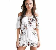 white jumpsuits and rompers for shoulder less string tie sleeve shorts white flower romper