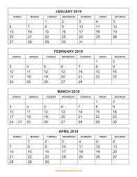 printable calendar pages free download printable calendar 2019 4 months per page 3 pages