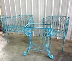 Green Wrought Iron Patio Furniture by Wrought Iron French Courting Chair