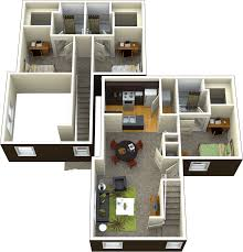 Loft Style Apartment Floor Plans by 3 Bedroom 3 Bathroom
