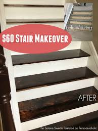 60 stair makeover including replacing treads remodelaholic