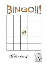 worksheet blank bingo sheet
