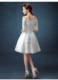 white half sleeve ball gown embroidery lace special occasion short