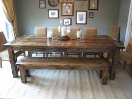 Rustic Dining Room Table With Bench Farm Style Dining Room Tables Pantry Versatile