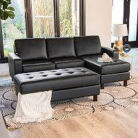 Sectional With Ottoman Leather Reversible Sectional And Ottoman Assorted Colors