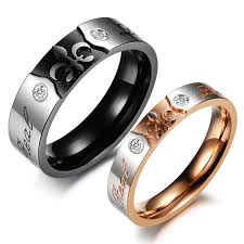 couple rings set images 2 pieces 316l stainless steel jewelry couple ring set gold color jpg