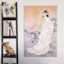 Plum Home Decor by Big Size 3 Pcs Japan Style Kimono Lady Picture Decoration Japanese