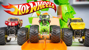monster truck grave digger video wheels monster jam dragon blast challenge toy trucks grave