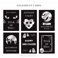 silver halloween cards vector free download