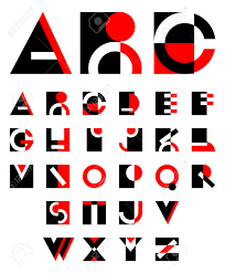 buchstaben design ursprünglichen geometrischen roten und schwarzen buchstaben design
