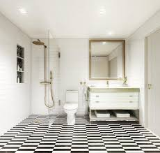 black and white stripe shower floor tiles with antique brass