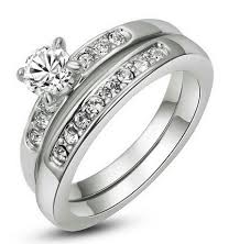 nickel free white gold 18k white gold plated two ring set cubic zirconia nickel