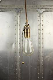 Bare Bulb Pendant Light Fixture Industrial Pull Chain In Pendant Light Antique Brass Bare