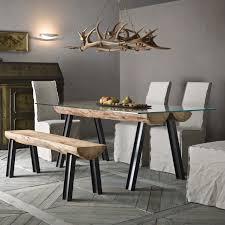 tavoli di cristallo sala da pranzo tavolo con tronchi di legno colorado arredaclick