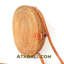 ata oval round leather clip bags