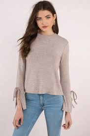 bell sleeve sweater rd style sally taupe bell sleeve sweater 29 tobi us