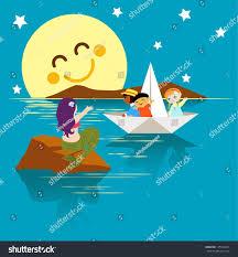 children paper boat waving mermaid eps stock vector 135134231