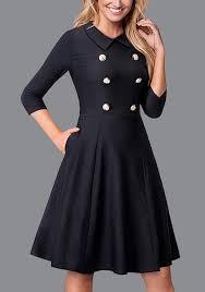robe bureau mi longue robe patineuse de bureau boutons col claudine manches 3 4