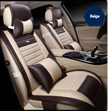housse siege audi a4 2 front leather car seat cover for audi a3 a4 b6 b8 a6 a5 q7 beige