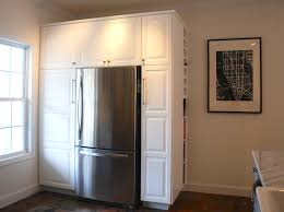 Kitchen Cabinets Refrigerator Surround by Ikea Lidingo White Pantry Surround With Ikea Hack Wine Rack And