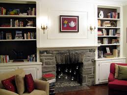 Lights For Bookshelves Rustic White Tone Bookshelves And Stone Fireplace Combined Classic