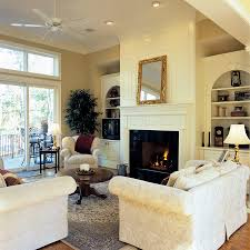 built in cabinets around fireplace living room traditional with