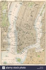 Central Park New York Map by Map Of Lower And Mid Town Manhattan New York City 1870s Stock