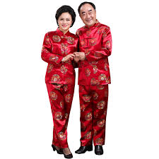 clothing for elderly in the elderly tang suit and autumn clothing elderly golden