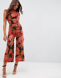high neck jumpsuit asos jumpsuit with high neck and wide leg in print printed woven