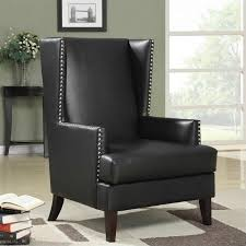 Black Leather Accent Chair Zoe S Furniture Coaster Faux Leather Accent Chair In Black