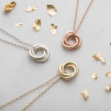 necklace chain with ring images Personalised 9ct gold mini russian ring necklace by posh totty jpg
