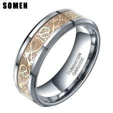celtic dragon rings images Somen ring men real tungsten ring 8mm gold celtic dragon inlay jpg