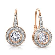 dangle earing collette z sterling silver cubic zirconia bezel halo dangle