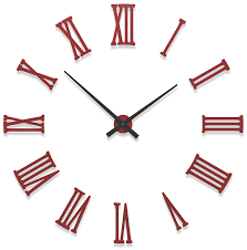 furniture cool oversized wall clock without frame with red roman