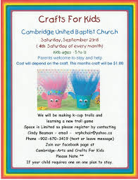 crafts for kids at baptist church cambridge september 23 2017 10am