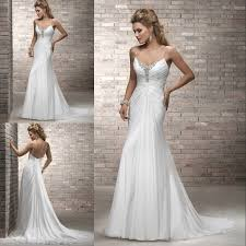 wholesale wedding dresses wholesale price chiffon beaded side slit bridal wedding