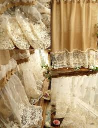 Burlap Shower Curtains Shabby Washed Rustic Chic Burlap Shower Curtain Lace Ruffles