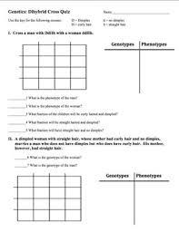 Dihybrid Cross Punnett Square Worksheet Genetics Dihybrid Quiz By Brown Science Tpt