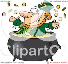 clipart cartoon st patricks leprechaun playing in a pot of gold