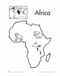 color the continents africa continents africa and coloring