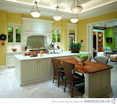 modern kitchen island with attached table dining round