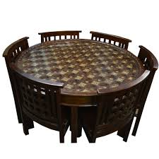 Dining Table And Six Chairs Brass Fitted Shaped Wooden Dining Table With Six Chairs