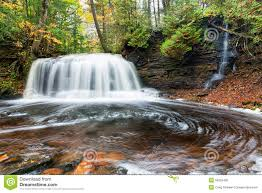 Map Upper Peninsula Michigan by Rock River Falls In Autumn Upper Peninsula Michigan Stock Photo